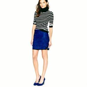 J.Crew Postage Stamp Indigo Blue Tweed Skirt NWOT